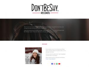 Don'tBeShy-Recordsin verkkosivut ja brändäys